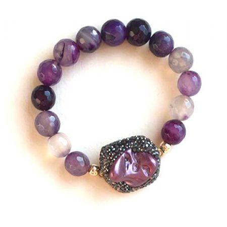 Handmade Purple Beaded Bracelet For Women