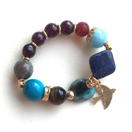 Handmade Blue Beaded Bracelet With Bird Detail For Women