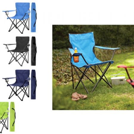Portable Folding Camping Armchair With Carry Bag 75 x 45 x 80 cm - Black