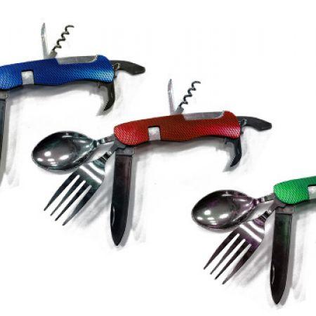 7 In 1 Stainless Steel Survival Portable Folding Pocket Knife - Blue