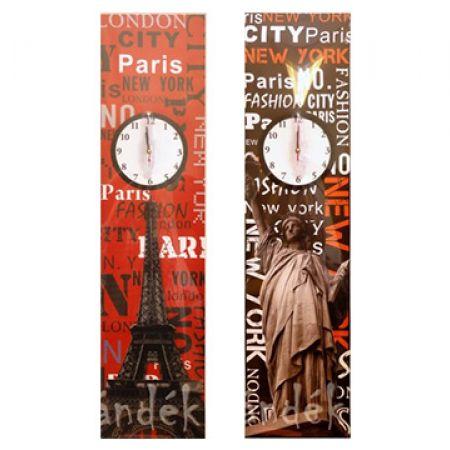 Hanging Wall Clock Canvas 100 x 25 cm - Paris
