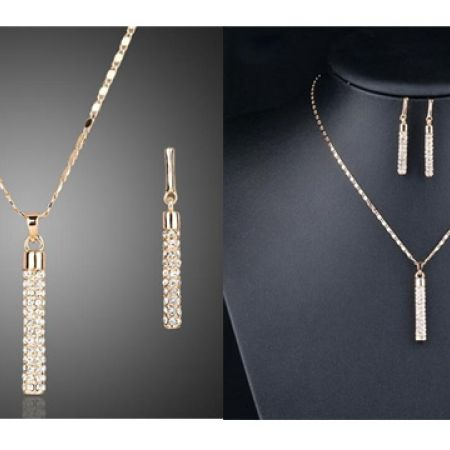 Vertical Color Gold Swarovski Necklace With Earrings 3 Pcs For Women