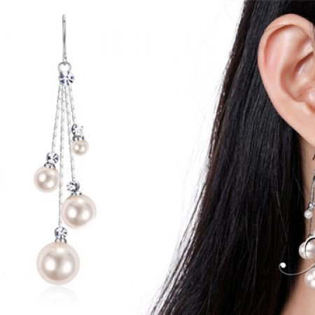 White Gold Plated Stimulated Drop Pearl Earrings For Women
