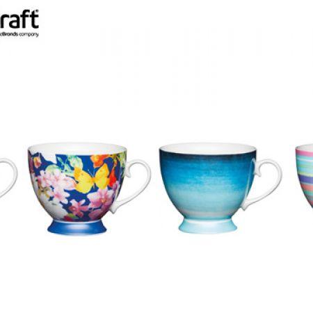 KitchenCraft Bone China Footed Mug 400 ml - Bright Stripe