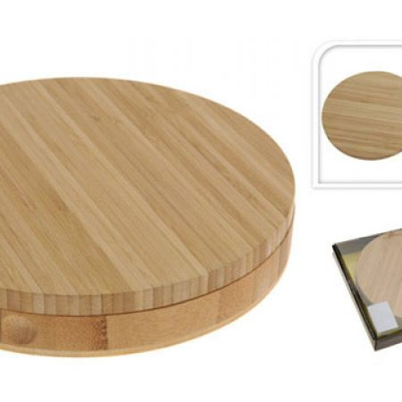 Stylish Wooden Bamboo Cheese Service With Cheese Knives Set 37.5 x 4 x 20 cm