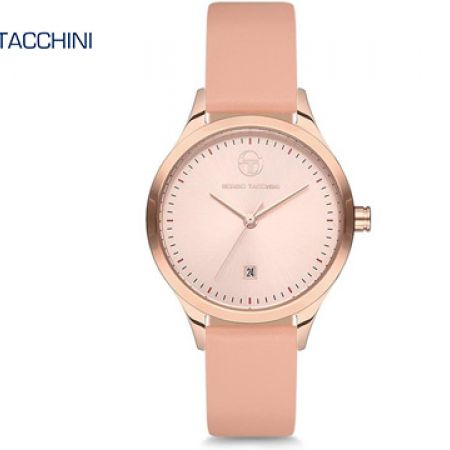 Sergio Tacchini Pink Leather Classy Round Watch For Women