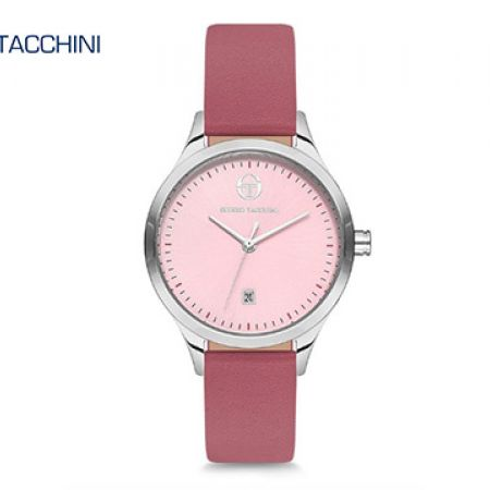 Sergio Tacchini Pinkish Leather Classy Round Watch For Women