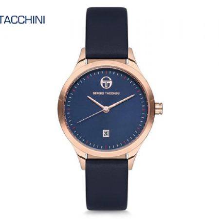 Sergio Tacchini Dark Navy Blue Leather Classy Round Watch For Women