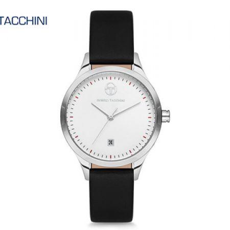 Sergio Tacchini Black Leather Classy Round Watch For Women
