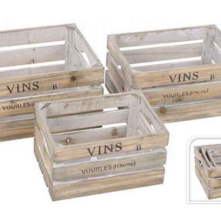 Set Of Rustic French Design Farm Shop Style Wooden Display Box 3 Pcs