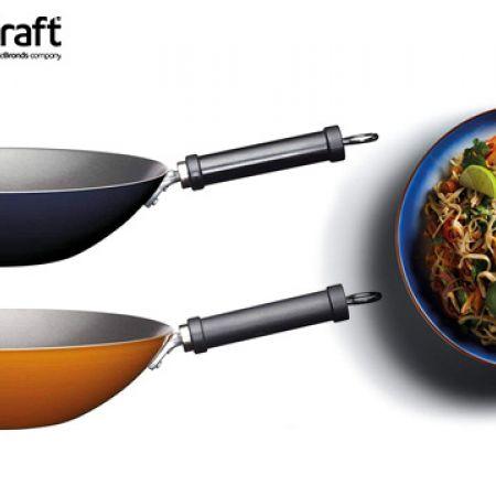 KitchenCraft World of Flavours Carbon Steel Wok 30 cm - Blue