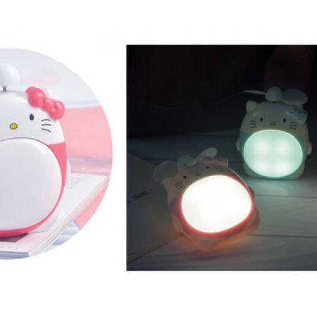 Hello Kitty Fuschia Cooling USB Rechargeable Mini Hand Fan With Led Light 11.6 x 9.2 cm