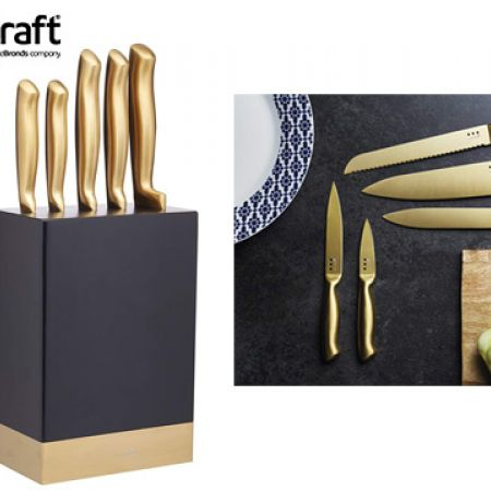 KitchenCraft MasterClass Brass-Coloured Stainless Steel Knife Set With Knife Block 5 Pcs