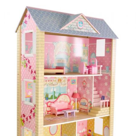 Colorful Wooden 3 Level Grand Mansion Doll House 118 x 75 x 35 cm