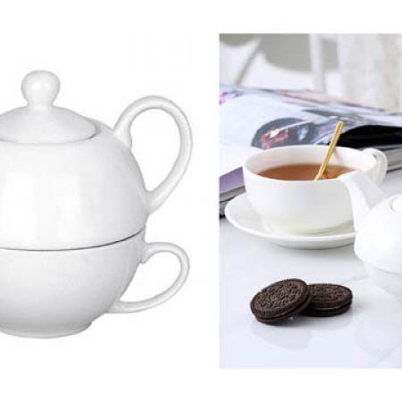 White Ceramic Teapot & Mug Set
