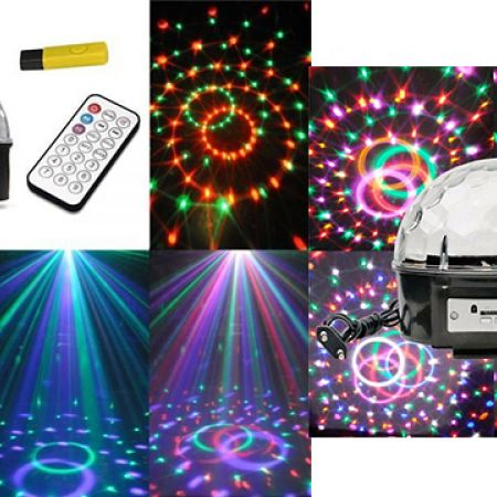 LED Crystal Magic Disco Ball DJ Party Lights With Remote Control MP3 With USB 18W/24W