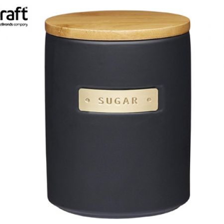 KitchenCraft MasterClass Stoneware & Brass Effect Sugar Container With Airtight Bamboo Lid 1 L