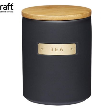 KitchenCraft MasterClass Stoneware & Brass Effect Tea Container With Airtight Bamboo Lid 1 L