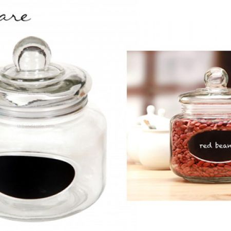 Circleware Wellington Chalkboard Preserving Glass Canister Jar With Glass Lid & 2 Pieces of Chalk 3 L