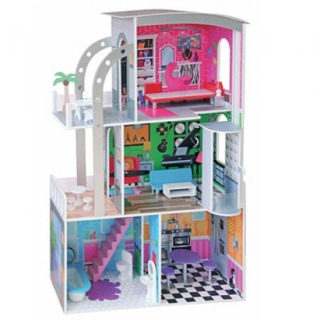 Colorful Wooden 3 Level Doll House 110 x 74 x 30 cm