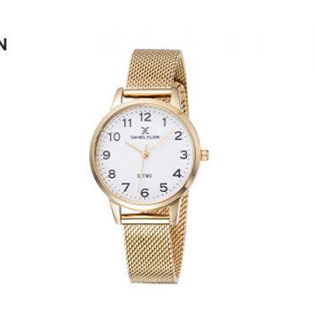 Daniel Klein DK11936-2 Stainless Steel Round Mesh Gold D-Two Watch For Women