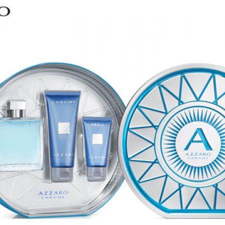 Azzaro Chrome 3 Pcs Gift Set EDT 100 ml, Shower Gel 100 ml & After Shave 50 ml For Men