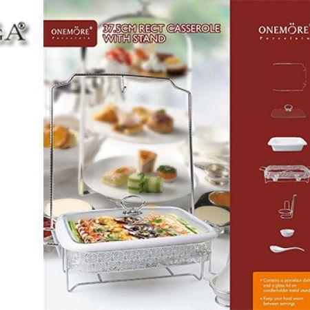 Casa Linga Rectangular Porcelain Casserole Rechaud With Lid & Stand 7 Pcs 37.5 cm
