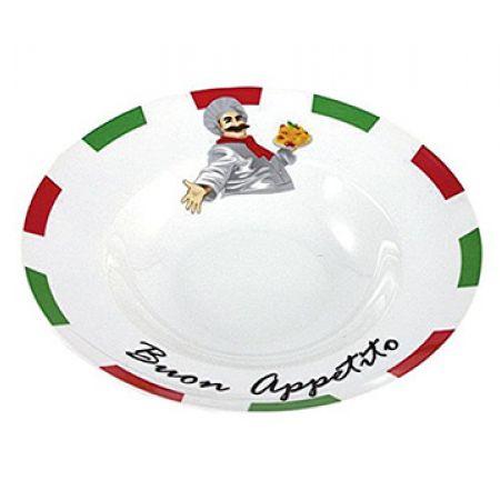 Set Of Porcelain White Pasta Plates With Italian Design Chef Buon Appetito Print 27 cm 2 Pcs
