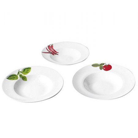 Set Of Porcelain White Pasta Plates In Different Designs 27 cm 3 Pcs