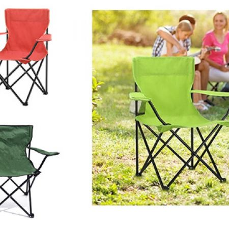 Portable Folding Camping Armchair With Carry Bag 50 x 50 x 80 cm - Green