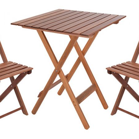 Set Of Bistro Wooden Folding Table With 2 Chairs 60 X 60 Cm Makhsoom