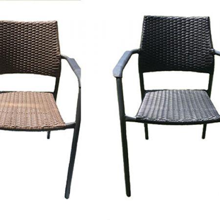 Outdoor Bistro Metal & Rattan Armchair - Dark Grey