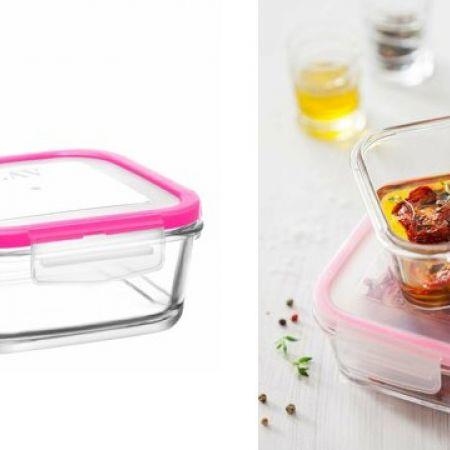 Lav Fresco Transparent Glass Food Storage With Clip Lid 375 ml