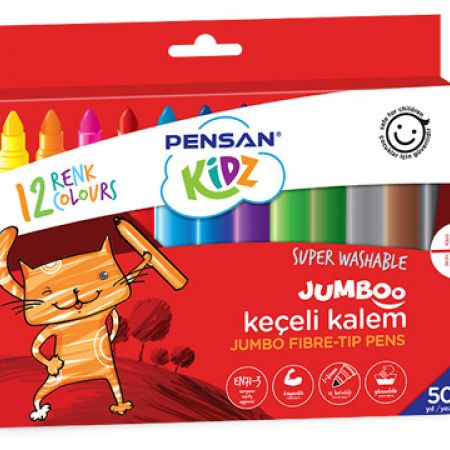 Pensan Jumbo Felt Tip Pen 12 Colors