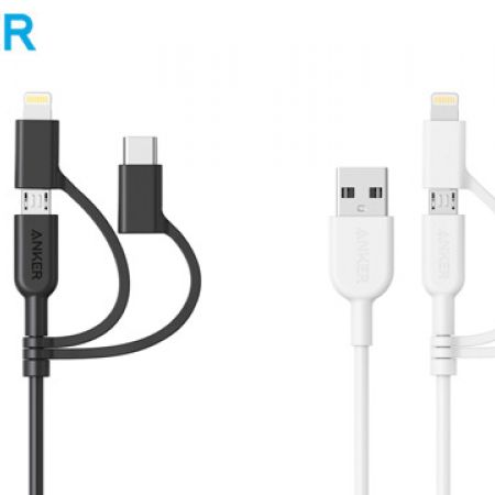 Anker PowerLine ll 3 in 1 USB-A to USB-C Micro USB Lightning Charging Cable - Black