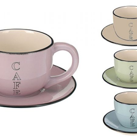 Ceramic Coffee Cup & Saucer - Green