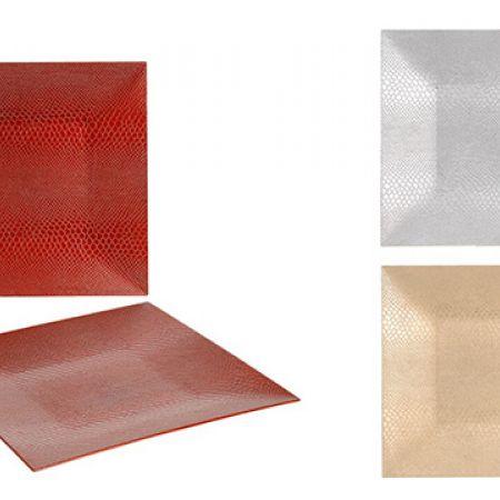 Snake Skin Decorative Square Underplate 33 x 33 cm - Gold