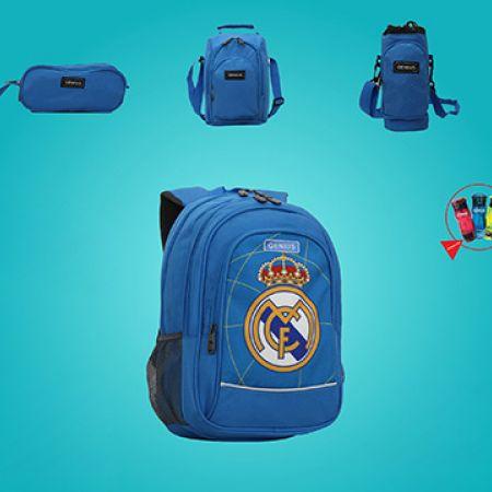 Genius Set Of Blue Real Madrid Design School Bag With Pencil Case, Water Bottle, Bottle Bag & Lunch Bag 19 inch 5 Pcs