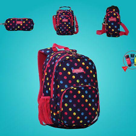 Genius Set Of Colorful Dotted Design School Bag With Pencil Case, Water Bottle, Bottle Bag & Lunch Bag 19 inch 5 Pcs