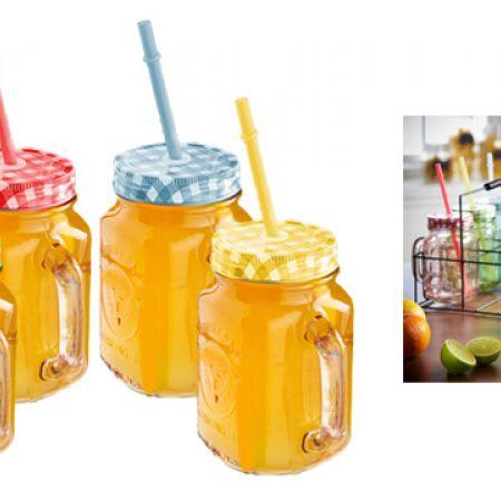 Multicolor Handled Mason Drinking Jar With Straw & Lid 500 ml - Blue