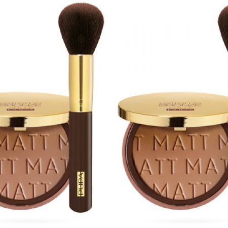 Bundle: Pupa Gift Set Of Extreme Bronze Matt Powder With Face Brush 2 Pcs - 001 Sand