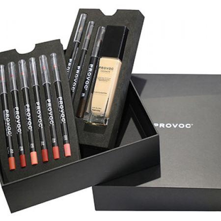 Provoc Collection Make-Up Foam Trays Box Gift Set Of Foundation, Eyeshadow, Gel Eyeliner, Gel Eyebrow & 6 Pcs Gel Lipliner 10 Pcs