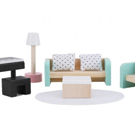 Wooden Dollhouse Lounge Furniture Set 7 Pcs