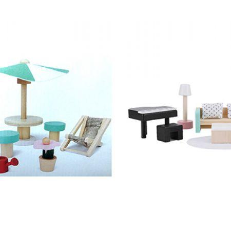 Bundle: Wooden Dollhouse Patio Furniture Set 9 Pcs With Wooden Dollhouse Lounge Furniture Set 7 Pcs