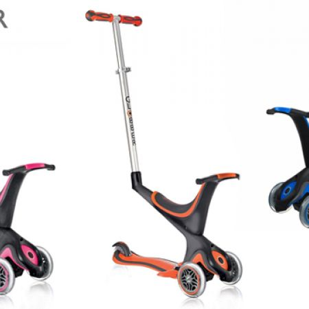 Globber EVO 5 In 1 Plus 3-Wheel Adjustable Height Scooter With Convertible Seat Kit - Red