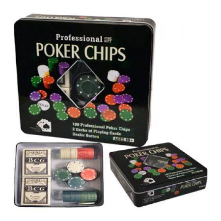 Professinal Texas Hold'em Poker Chip Game Set In Metal Case 100 Pcs