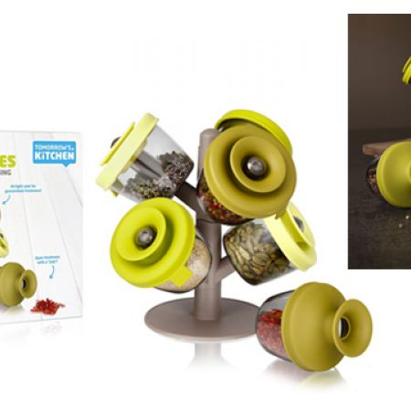 Tomorrow's Kitchen Popsome Herbs & Spices Airtight & Quick Closing Set With Stand 9 Pcs