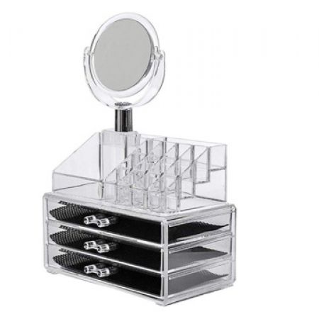 Design Acrylic JN-878 Jewelry & Cosmetic Storage Display 3 Drawers Box Set With Mirror