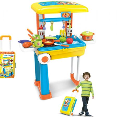 2-In-1 Pull Along Trolley Little Chef Bag With Kitchen Set