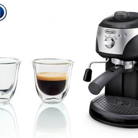 Delonghi EC221B Black Espresso Cappuccino Coffee Maker + Free Set Of 2 Delonghi Espresso Thermo Glasses